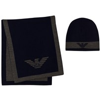 Armani Junior Navy and Grey Branded Hat and Scarf Set 06935