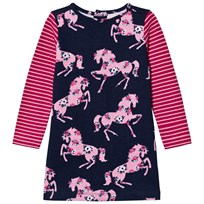 Hatley Pink and Navy Horse Print Jersey Dress Pink