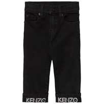 Kenzo Washed Black Branded Turn Up Jeans 294