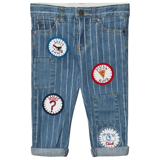 Stella McCartney Kids Lohan Unisex Badges Jeans Blå 4161