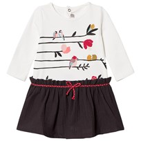 Catimini White Bird Print Jersey and Woven Dress 11
