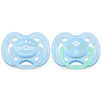 Philips Avent Freeflow Soother 0-6M 2 Pack Vintage Blue Blue