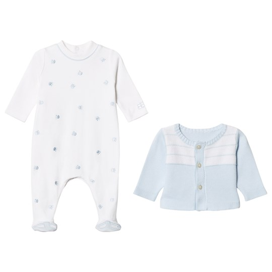 Emile et Rose Blue Cardigan and White Footed Baby Body Set Pale Blue
