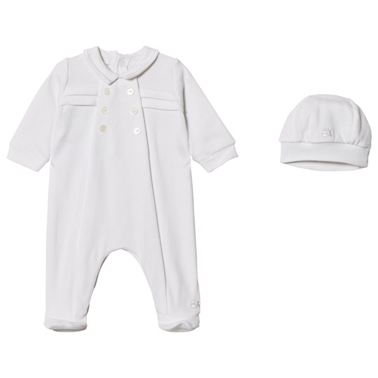 Emile et Rose Lance Footed Baby Body and Beanie Set in White White