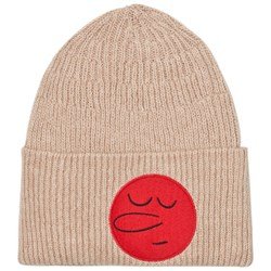 The Animals Observatory Pony Knit Beanie Soft Beige Round Face