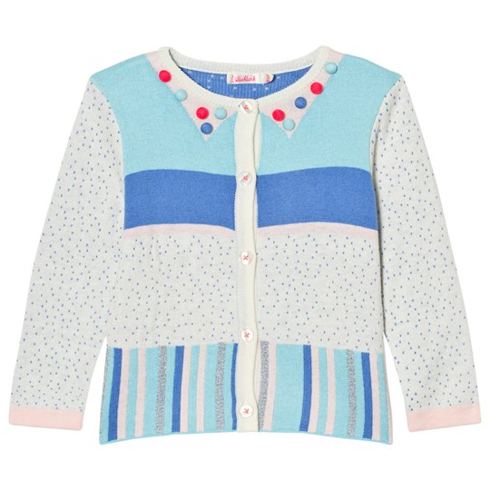Billieblush Multi Patterned Knit Pom Pom Cardigan Z40