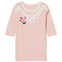 Billieblush Pink Knitted Dress Faux Fur Bunny Applique 46F