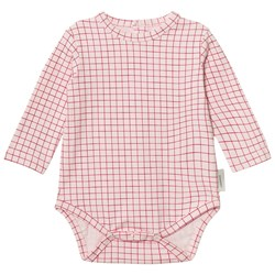 Tinycottons Grid Long Sleeve Baby Body Pale Pink/Red