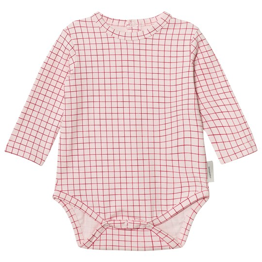 Tinycottons Grid Long Sleeve Baby Body Pale Pink/Red Pale Pink / Red