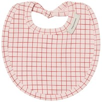 Tinycottons Grid Bib Pale Pink/Red Pale Pink / Red