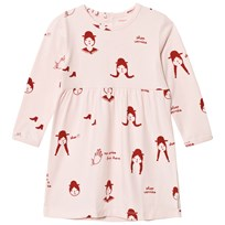Tinycottons No-Worry Dolls Dress Pale Pink/Red Pale Pink / Red