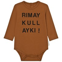 Tinycottons Quechua Graphic Long Sleeve Baby Body Brown/Black Brown / Black