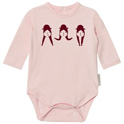 Tinycottons No-Worry Graphic Long Sleeve Baby Body Light Pink/Bordeaux