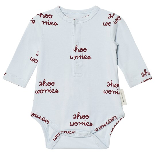 Tinycottons Shoo Worries Long Sleeve Baby Body Light Blue/Bordeaux Light Blue / Bordeaux