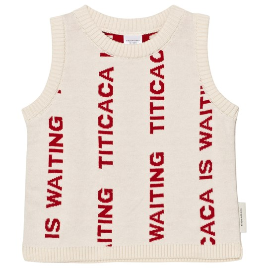 Tinycottons Titicaca Knit Vest Beige/Red Beige / Red