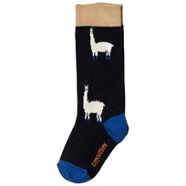 Tinycottons Llamas Hairy High Socks Dark Navy/Beige Dark Navy / Beige