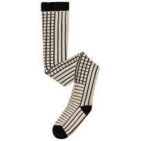 Tinycottons Lines & Grid Tights Beige/Black Beige / Black