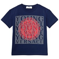 Young Versace Blue and Red Medusa Branded Tee 3370