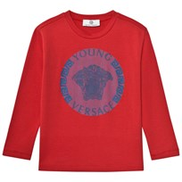 Young Versace Red and Blue Medusa Long Sleeve Tee 3373
