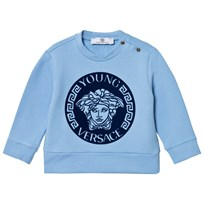 Young Versace Pale Blue and Navy Gel Medusa Sweatshirt 3223