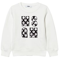 MSGM White Sequin Logo Sweatshirt 002