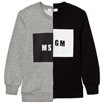MSGM Grey and Black Split Logo Sweatshirt 101