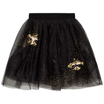 Billieblush Black and Gold Glitter Embroidered Bee Tulle Skirt 09B