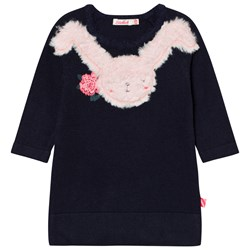 Billieblush Navy Knitted Dress Faux Fur Bunny Applique