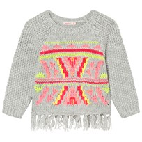Billieblush Grey Knitted Patterned Tassle Jumper A07