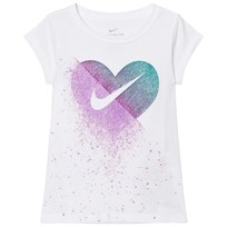 NIKE White Glitter Heart Core Tee 001