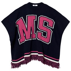 MSGM Navy and Pink Logo Knit Cape