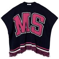 MSGM Navy and Pink Logo Knit Cape 60