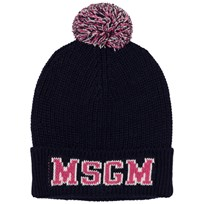 MSGM Navy and Pink Logo Beanie 60