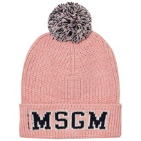 MSGM Pink and Navy Logo Beanie 42