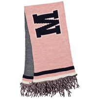 MSGM Pink and Navy Logo Scarf 42