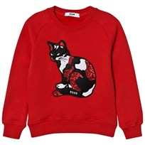 MSGM Red Sequin Cat Sweatshirt 40