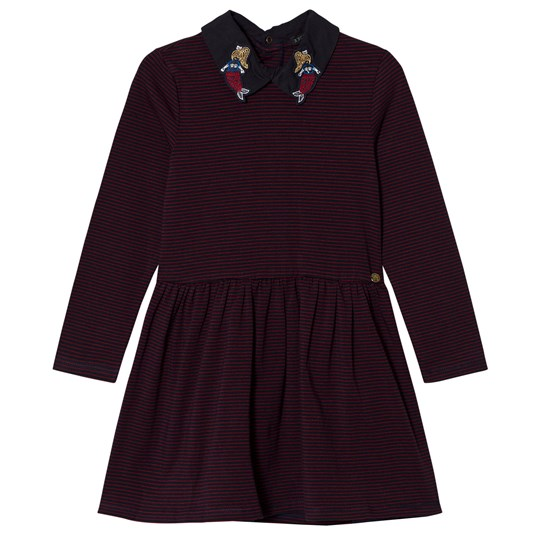 IKKS Burgundy and Red Stripe Jersey Dress with Mermaid Embroidery 39