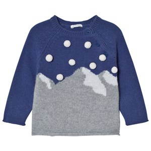 Image of Il Gufo Blue Mountain Intarsia Pom Pom Sweater 6 months (2743689255)