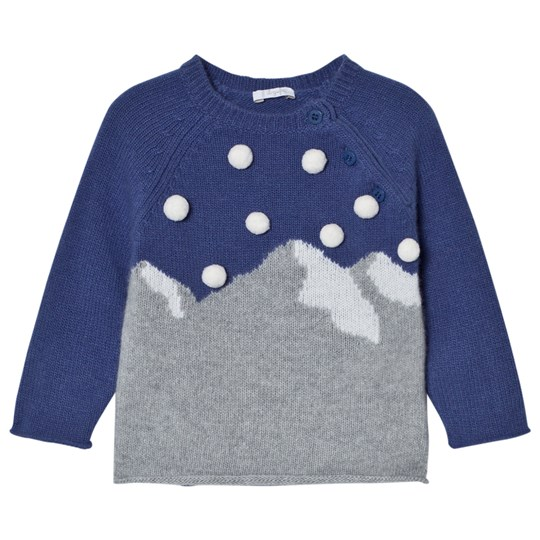 Il Gufo - Blue Mountain Intarsia Pom Pom Sweater - Babyshop.com