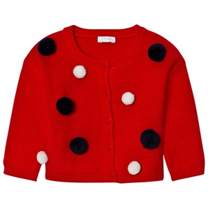 Image of Il Gufo Red Multi Pom Pom Cardigan 6 months (2743792903)