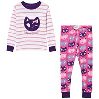 Hatley Cream and Pink Stripe Cat Pyjamas Cream