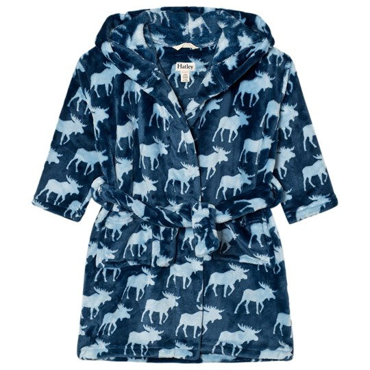 Hatley Unisex Moose Print Bathrobe Blue