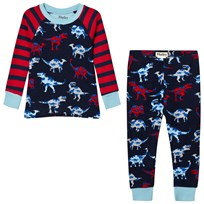 Hatley Red and Navy Raglan Dino Print Pyjamas Red/navy