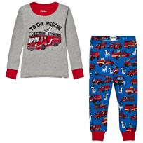 Hatley Grey Fire Truck Applique and PrinGrey Fire Truck Applique and Printed Pyjamasted Bottom Pyjamas Black