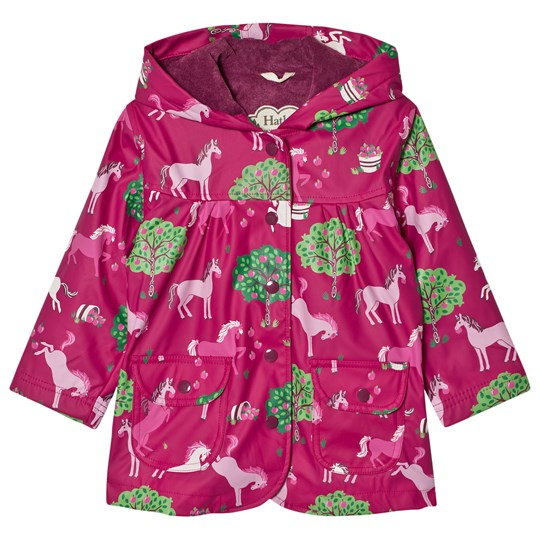 Hatley Horse and Apple Print Raincoat Pink Cerise
