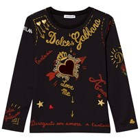 Dolce & Gabbana Black Heart Print Embroidered Tee HNF48