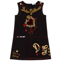 Dolce & Gabbana Black Heart Print Embroidered Sleeveless Dress HNF48