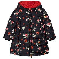 Dolce & Gabbana Navy Floral Lady Bird Print Puffer Coat HBE95