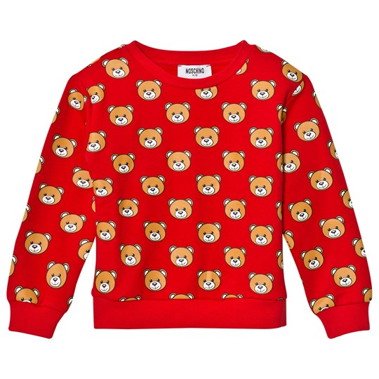 Moschino Kid-Teen Red All Over Bear Print Sweatshirt 82147