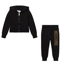 Moschino Kid-Teen Black Studded Logo Tracksuit 60100